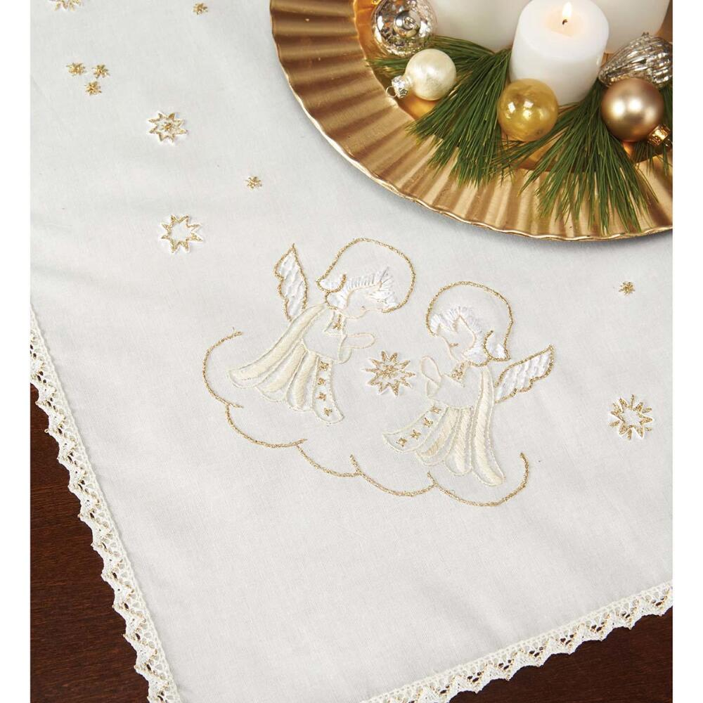 Nob Hill Golden Angels Table Topper Stamped Embroidery Kit