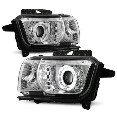 [Dual Halo] For 2010-2013 Chevy Camaro Projector Headlights Chrome Pair LH+RH