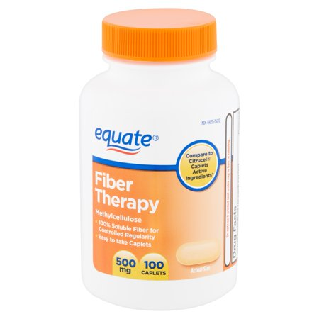 Equate Fiber Therapy Methylcellulose Caplets, 500 mg, 100 Count (Citrucel Fiber Laxative)