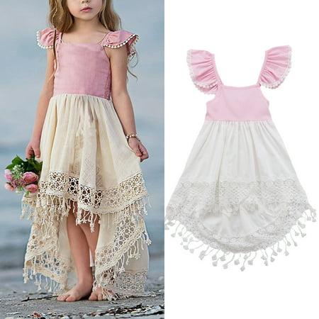 Toddler Baby Girl Sleeveless Tutu Dress Party Princess Pageant Sundress Pink 1-2 Years](Girls Pink Tutu Dress)