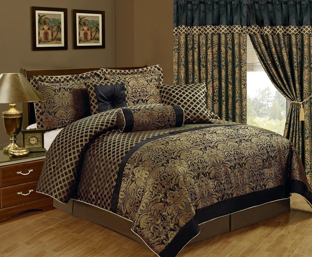 Chezmoi Collection Lisbon 7 Piece Black Gold Jacquard Floral