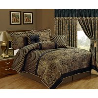 Chezmoi Collection Lisbon 7-Piece Black Gold Jacquard Floral Comforter Set