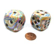 Chessex Festive 30mm Large D6 Dice, 2 Pieces - Vibrant with Brown Pips #DF3061