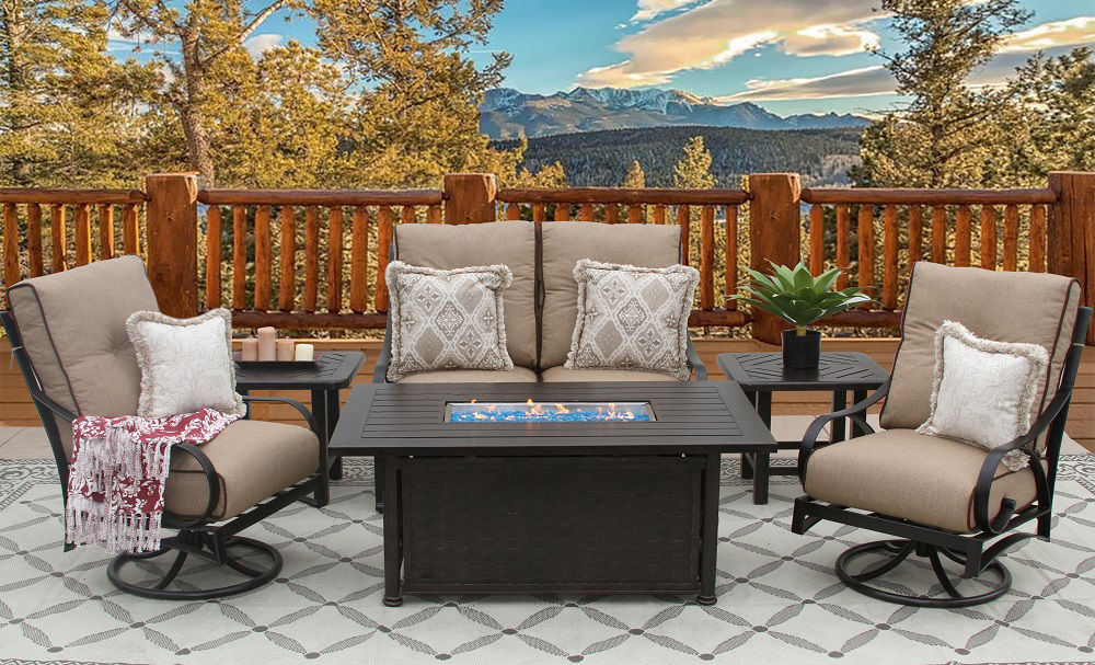 Firepit Outdoor 6pc 34x58 Rectangle by