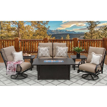 Fire Pit Outdoor 6pc 34x58 Rectangle