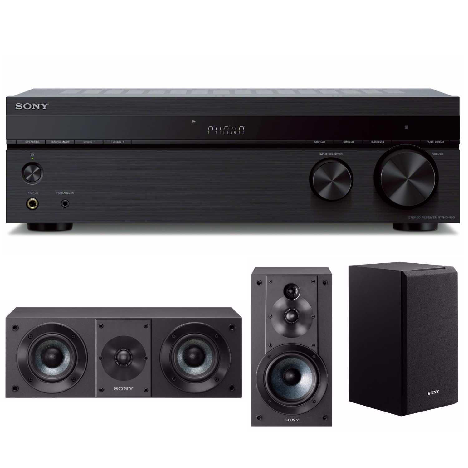 Sony STRDH190 2-ch Stereo Receiver (Phono Bluetooth) with Two Speaker Systems by Sony