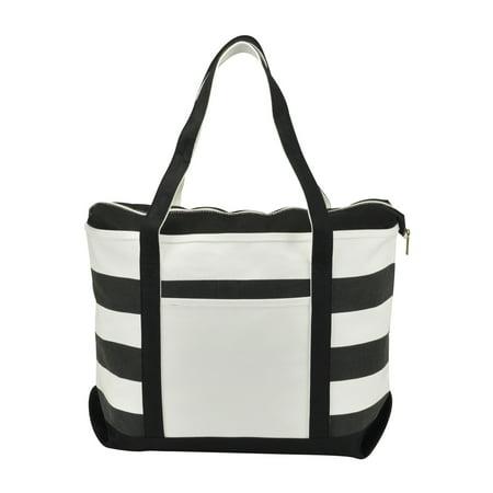 DALIX Striped Boat Bag Premium Cotton Canvas Tote in -