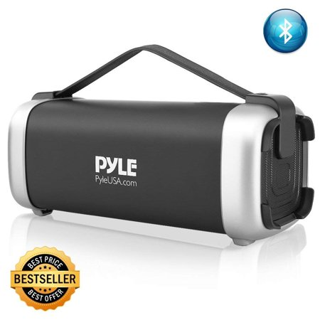 Pyle Wireless Portable Bluetooth Speaker - 200 Watt Power Rugged Compact Audio Sound Box Stereo System - Rechargeable Battery, 3.5mm AUX Input Jack, FM Radio, MP3, Micro SD and USB Reader - (Best Compact Speaker System)