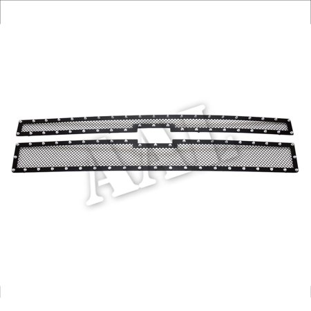 AAL BLACK STEEL MESH Grille / Grill Insert With SILVER RIVETS For 2014 2015 CHEVY Chevrolet SILVERADO 1500 ONLY FOR HIGH COUNTRY MODEL