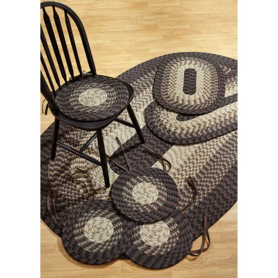 Chocolate Antique Round Rug - Alpine Braided Rug 7-Piece Set with Room Size Rug and Accessories, Chocolate