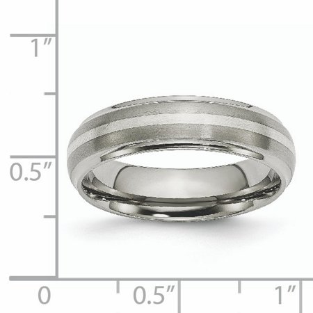 Titanium Ridged Edge 925 Sterling Silver Inlay 6mm Brushed/ Wedding Ring Band Size 7.00 Precious Metal Fine Jewelry Gifts For Women For Her - image 8 of 10