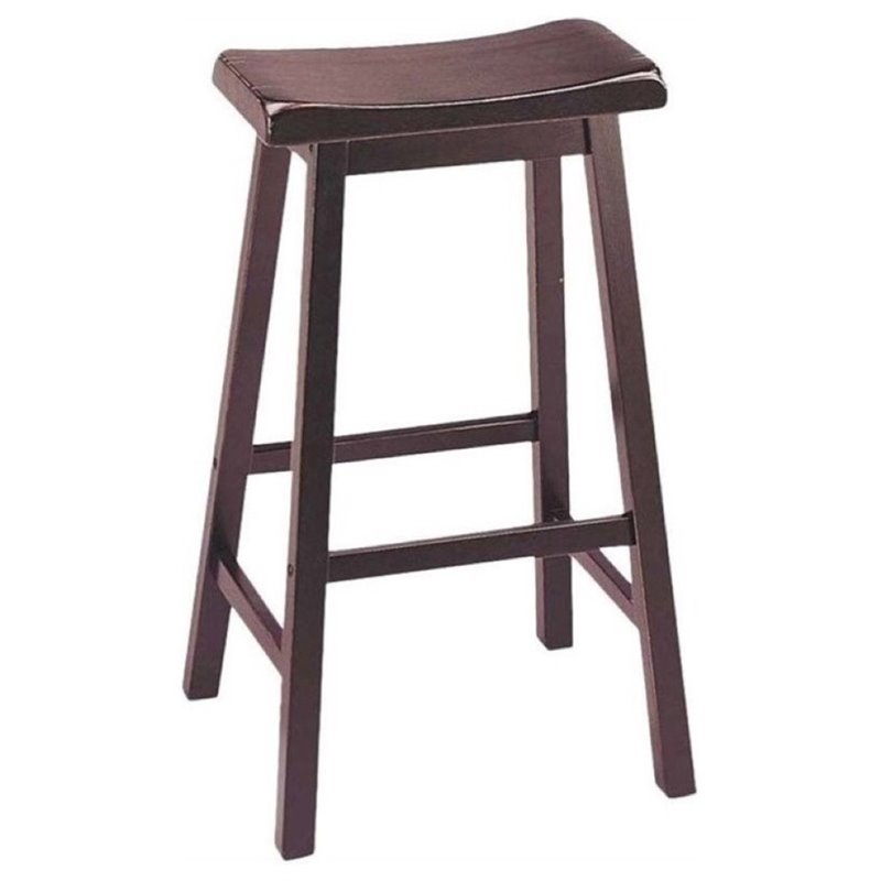 "Hawthorne Collection 29"" Saddle Bar Stool in Walnut (Set of 2)"