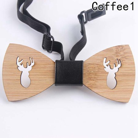 KABOER Novelty Bow tie Moustache Ties Women Men Wooden Bow Tie Wedding Neckwear (Logo Man With Moustache And Bow Tie)