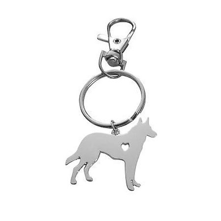 Art Attack Silvertone I Love My Dog Lover Heart Outline German Shepherd Pet Puppy Rescue Pendant Keychain