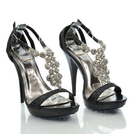 Beyonz32 by Blossom, Sparkling Open Toe Rhinestone Studded T Strap Stiletto Dress Heel