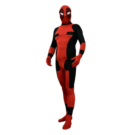 Heroes And Villains Costume (Deadpool Adult Costume Body Suit Spandex Wade Winston Wilson X-Men)