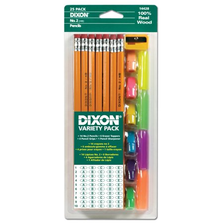 Dixon Ticonderoga Pencil Variety Pack, 14 Number 2 Soft Pencils, 6 Eraser Toppers, 4 Pencil Grips, and Sharpener - Pencil Grips