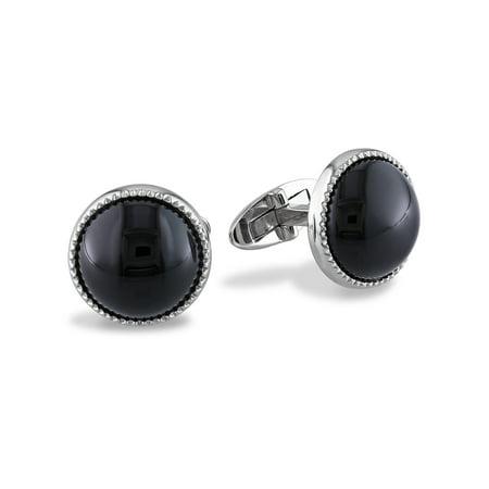17 Carat T.G.W. Black Onyx Sterling Silver Halo Cufflinks
