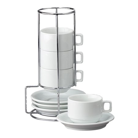 Hic 9-Piece Stackable Espresso Coffee Tea Set, Fine White Porcelain, Set Includes 4 (4-Ounce) Cups With Matching Saucers And Metal Stand, Gift - Cheap Tea Cups And Saucers