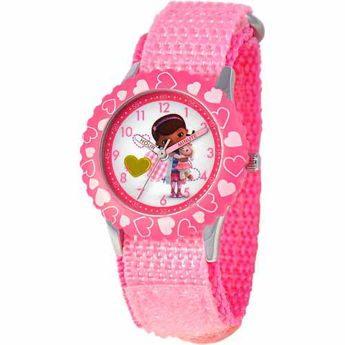 Disney Doc McStuffins Girls' Stainless Steel Watch, Pink Strap