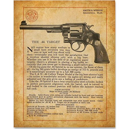 Smith & Wesson - Target .44 Revolver - 11x14 Unframed Art Print - Great Gift for Gun
