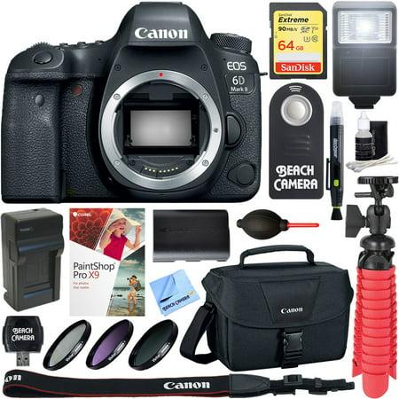 Canon EOS 6D Mark II 26.2MP Full-Frame Digital SLR Camera (Body Only) + 64GB Accessory Bundle