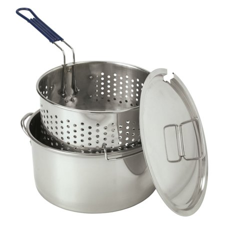 Bayou classic stainless steel fry pot with basket for Fish basket walmart