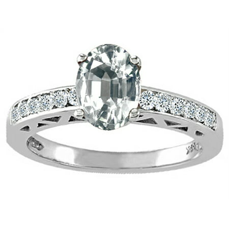 Tommaso Design Oval 7x5mm Genuine White Topaz Solitaire Engagement Ring