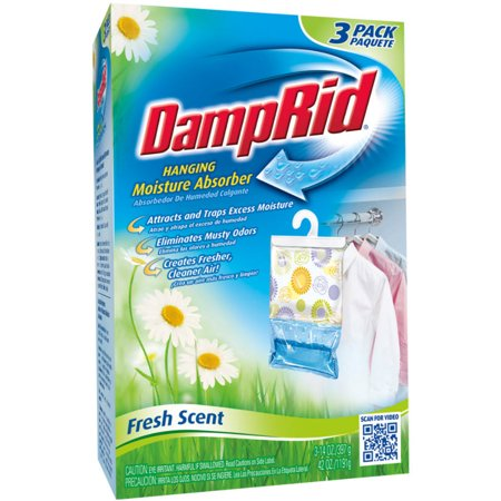 Closet Freshener - DampRid Hanging Moisture Absorber, Fresh Scent, 3 x 14 Oz