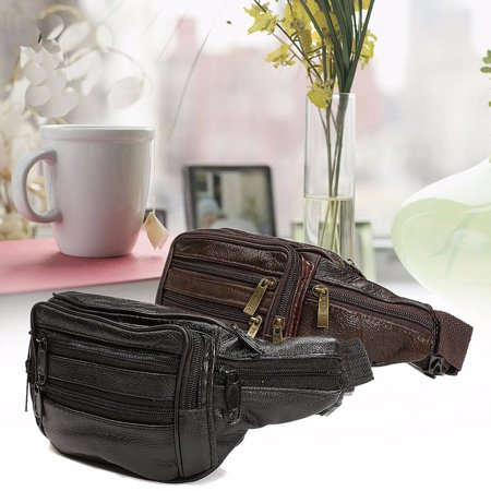 Men Waterproof Soft Leather Bum Waist Bags Pouch Wallet Travel Money Belt Pocket