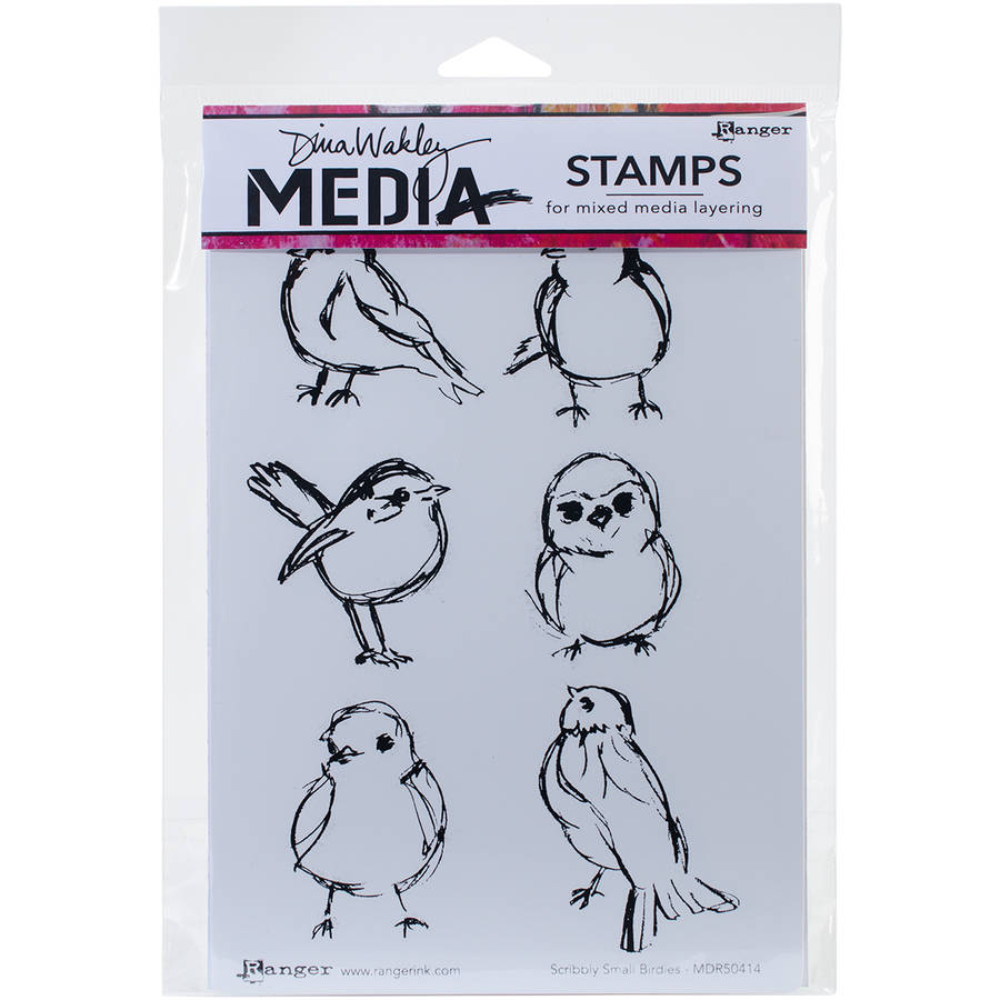 """Dina Wakley Media Cling Stamps, 6"""" x 9"""", Scribbly Small Birdies"""