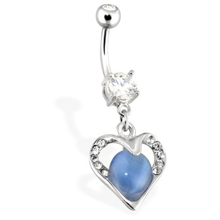 Encased Gems - Hollowed Heart With Paved Gems Encasing Blue Cats Eye Gemstone Dangle Surgical Steel Navel Ring