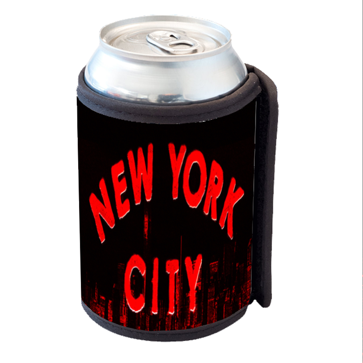 KuzmarK Insulated Drink Can Cooler Hugger - New York City Skyline Red