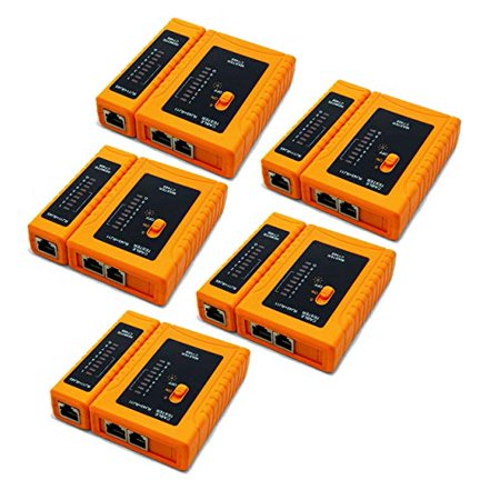 iMBAPrice (Pack of 5) RJ45/RJ11/RJ12/CAT5/CAT6/UTP Network Lan Cable Tester Test Tool (Networking Test)