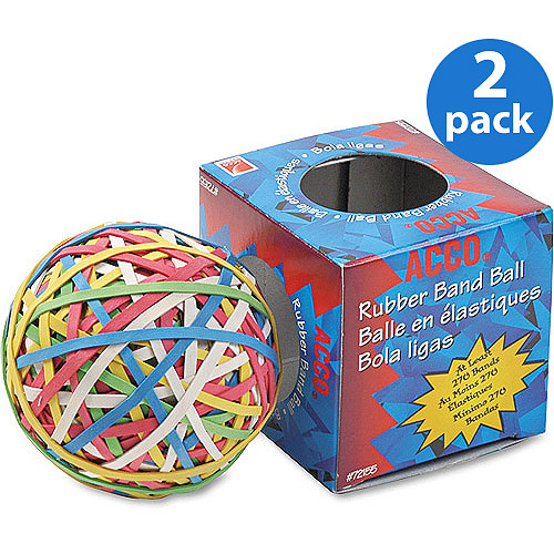 ACCO Rubber Band Ball, Minimum 260 Rubber Bands/Box, 2 Pack