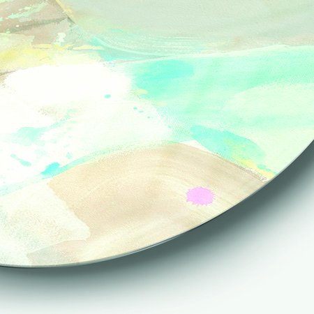 Designart 'Abstract Compositions of Pastel Blue and Green' Geometric Metal Circle Wall Art - image 2 de 3
