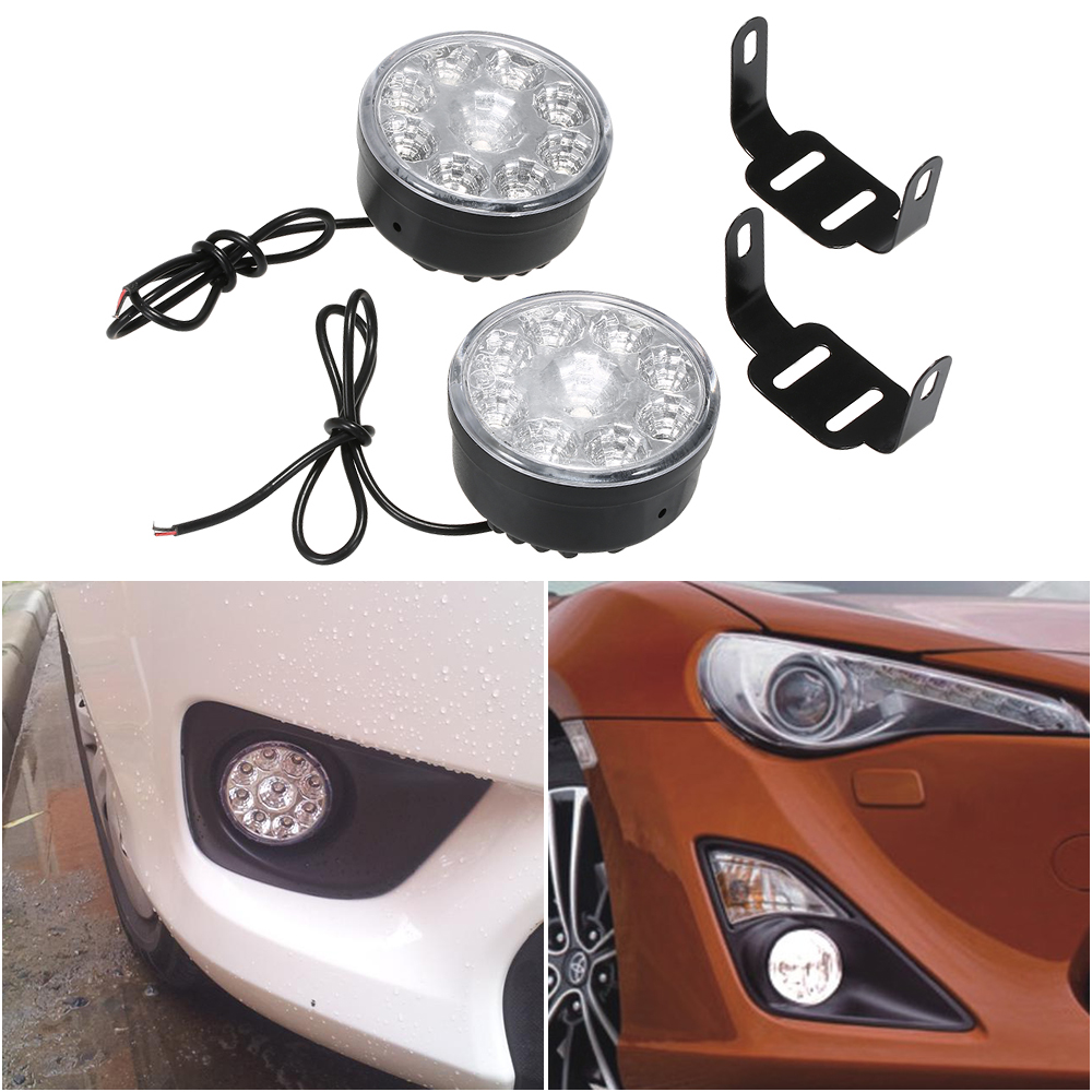 2x 12V 9LED DRL Round Daytime Running Light Car Fog Day Driving Lamp Safe White