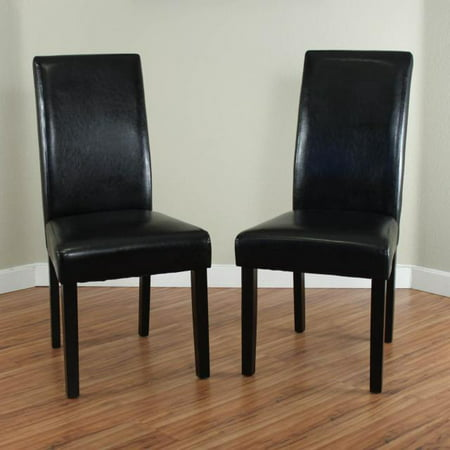 Pleasing Villa Faux Leather Black Dining Chairs Set Of 2 Alphanode Cool Chair Designs And Ideas Alphanodeonline
