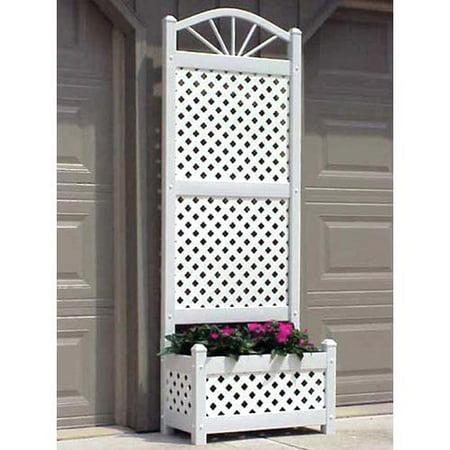 6 5 foot outdoor rectangle vinyl sunburst lattice planter for 8 foot high outdoor privacy screen