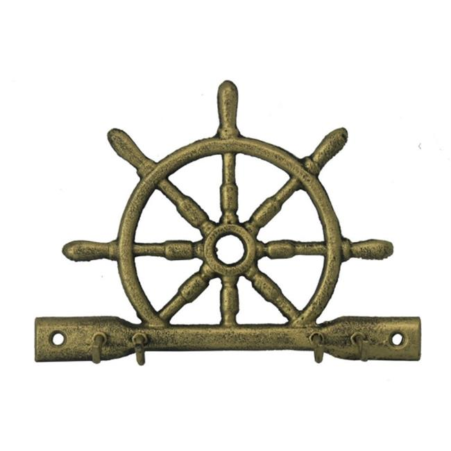 Handcrafted Model Ships K-718-gold 8 in. Cast Iron Ship Wheel With Hooks - Rustic Gold