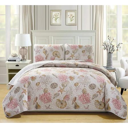 Fancy Linen 3pc Bedspread Coverlet Quilted Seashells Beige Red New #Seaside California King