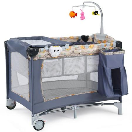 Costway Foldable Baby Crib Playpen Playard Pack Travel Infant Bassinet Bed Music Gray Play Playard Bassinet