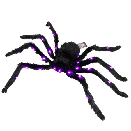Halloween Haunters Black Spider with Purple Lights, Add some extra fright to your night with this realistic creepy crawly 28
