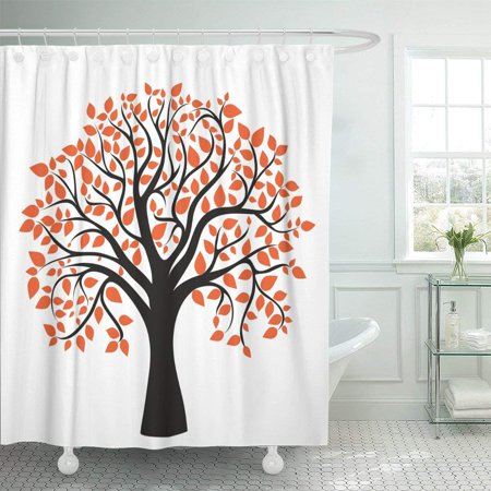 Fall Bathroom Decor (ARTJIA Orange Oak Autumn Tree for Your Design Red Maple Fall Silhouette Abstract Leaf Polyester Shower Curtain Bathroom Decor 66x72)
