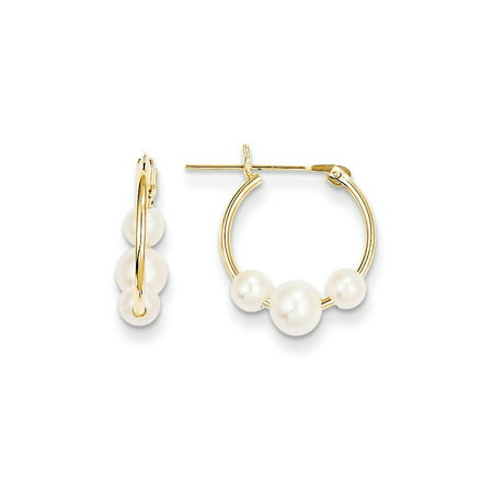 14k Yellow Gold White Semi Round Freshwater Cultured 3 Pearl Hoop Earrings Ear Hoops Set Gifts For Women For