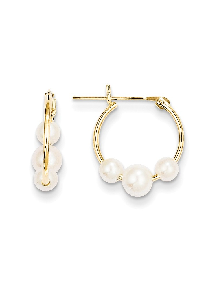 ICE CARATS 14kt Yellow Gold White Semi Round Freshwater Cultured 3 Pearl Hoop Earrings Ear Hoops Set Fine Jewelry Ideal Gifts For Women Gift Set From Heart