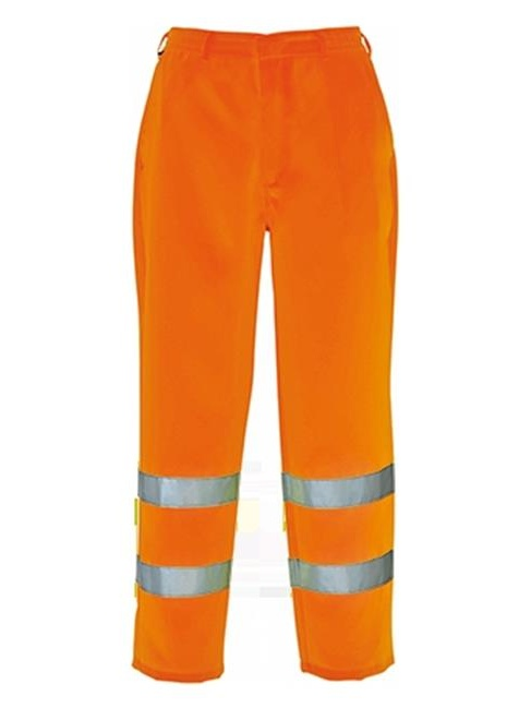 Portwest E041 Medium Hi-Visibility Poly Cotton Trouser, Yellow - Regular