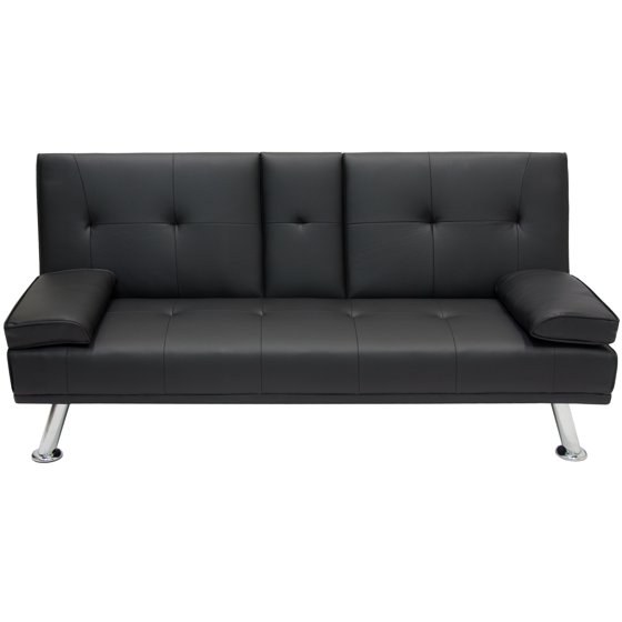 Best Choice Products Modern Faux Leather Convertible Futon Sofa Bed Recliner Couch W Metal Legs 2 Cup Holders Black Com