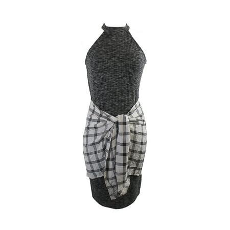 Material Girl Juniors Charcoal Combo Plaid Wrap-Front Dress L ()