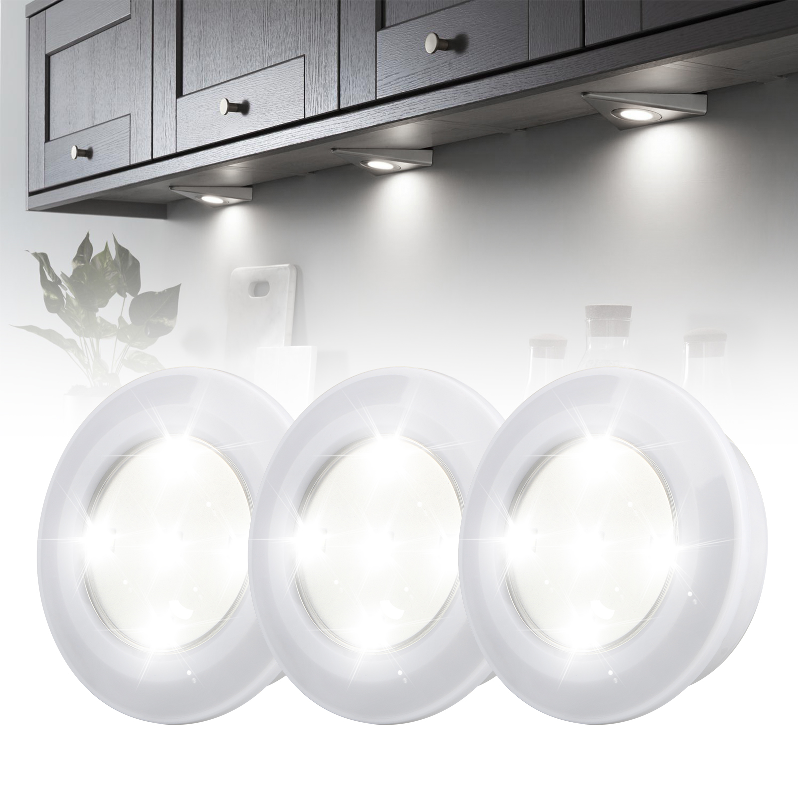 3 Pack Wireless Led Puck Lights With Remote Control Under Cabinet